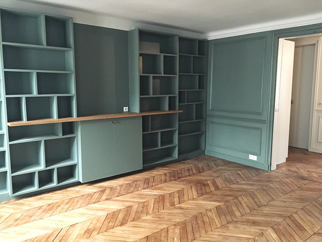 une biblioth que sur mesure lili barbery. Black Bedroom Furniture Sets. Home Design Ideas